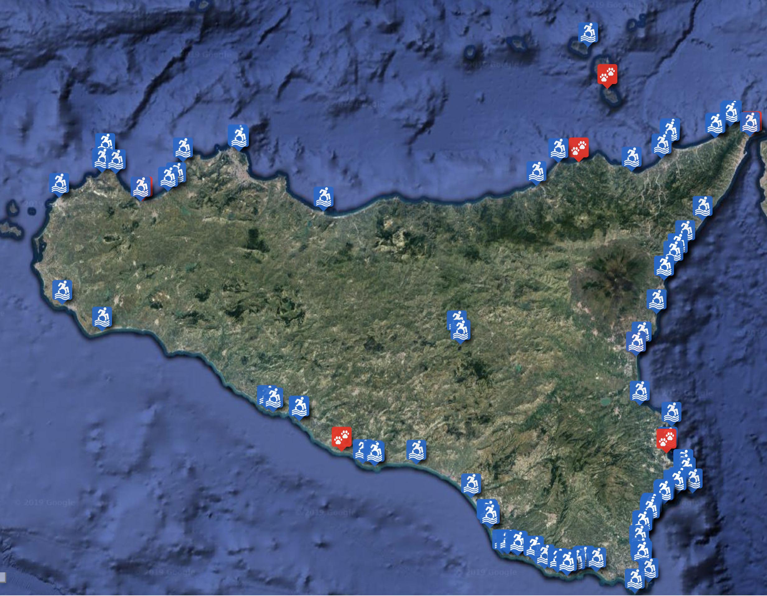 Cartina Noto Sicilia.East Sicily Consulta La Mappa Con Le Spiagge E I Lidi Delle Strutture Balneari Accessibili In Sicilia East Sicily